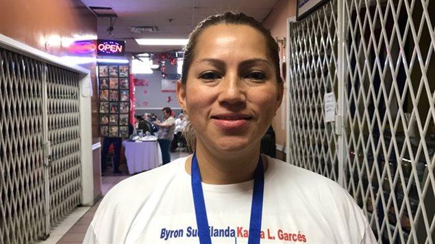 La candidata a la representación de los ecuatorianos en Canadá y Estados Unidos, Karina Garcés, quien vive en Nueva Jersey.