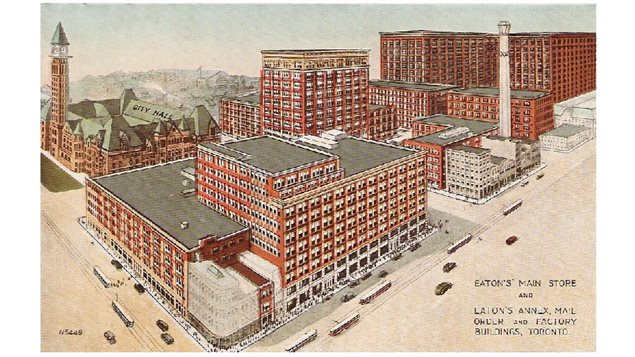 The Eaton's store, the Eaton's Annex, mail order facilities and factories in Toronto, at Yonge and Queen Streets, in 1920. Note *City Hall* at left (now old city hall) Yonge Str runs north at right. Note streetcars (tram) on Yonge and Queen Str.