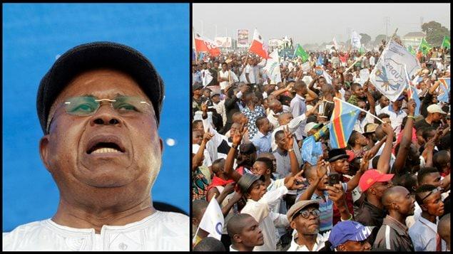 A gauche: Etienne Tshisekedi, chef de l'opposition en République démocratique du Congo en juillet 2016. A droite: Manifestation de ses partisans lors d'un rassemblement politique à Kinshasa, République Démocratique du Congo, juillet 2016