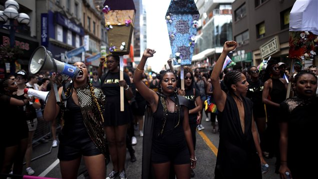 Members of Black Lives Matter participated in the annual Pride Parade in Toronto on July 3, 2016.
