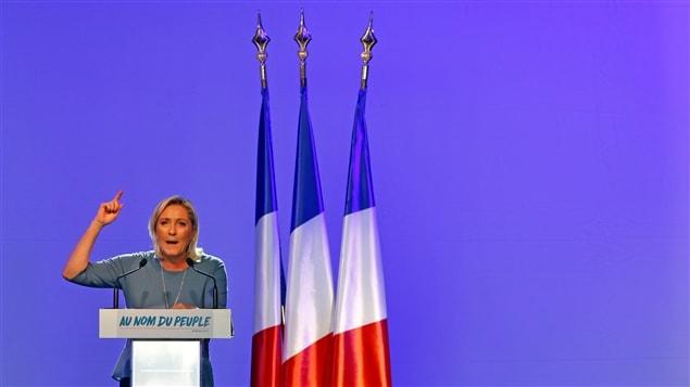 Marine Le Pen, présidente du Front National et  candidate à la présidence de la République Française.