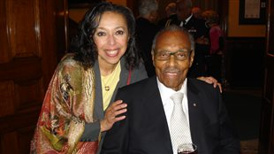Rosemary Sadlier in 2011 with Lincoln Alexander, Canada's first black Member of Parliament, and later first black Cabinet Minister. Mr Alexander passed away in 2012.