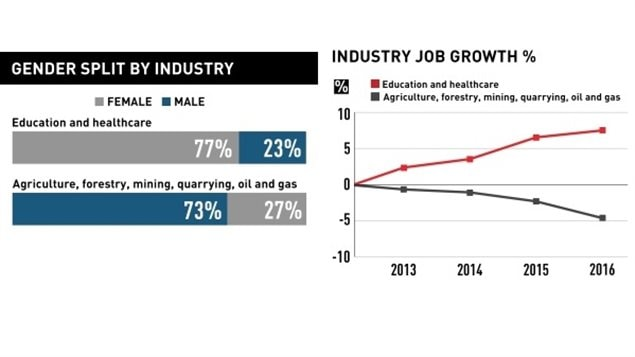 Traditional male dominated industries are declining, whiel traditionally female dominated fields are increasing