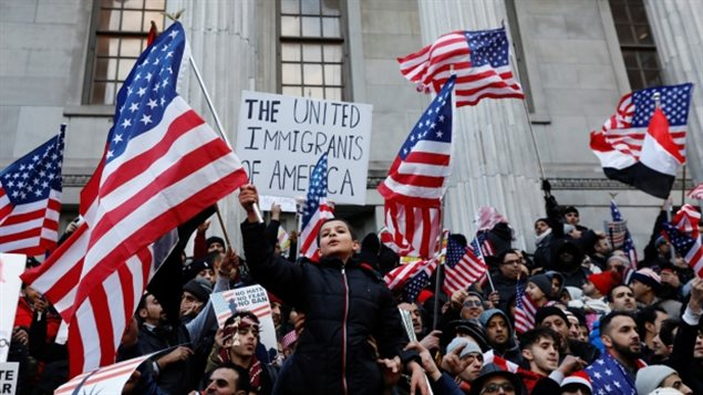 While people protested Trump's travel ban outdoors, lawyers successfully argued against it in court.
