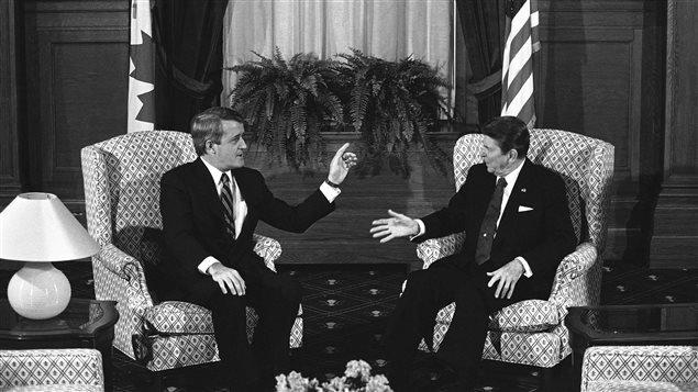 Canadian Prime Minister Brian Mulroney and U.S. President Ronald Reagan hold their first round of talks on March 17, 1985 in Quebec City.