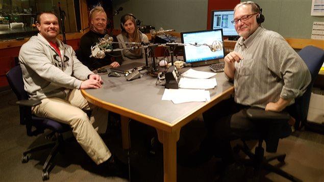 De gauche à droite: Pierre Guionie, Annie Duguay, Ann-Edith Daoust et Michel Plourde à l'émission Boréale 138