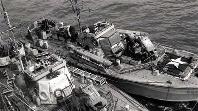Outside boat is G-class MTB 466 of the Canadian 29th Flottilla, inside boat has two rows of small depth charges instead of torpedo tubes. These were to counter German two-man mini subs.