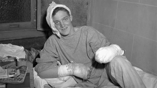 Able Seaman Jack Porter recovering from burns in the Feb 14 1945 fire
