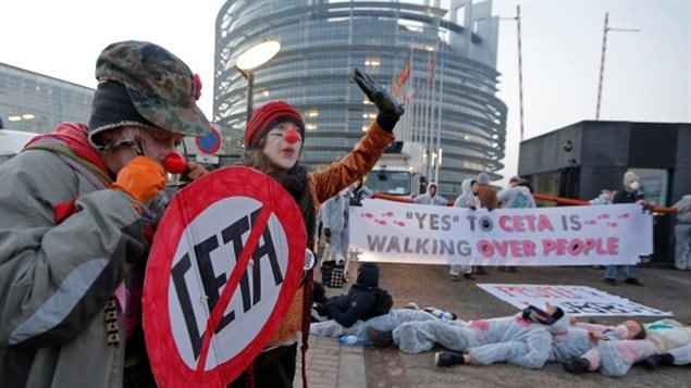 Demonstrators protest the Canada-EU trade agreement in Strasbourg, France, the seat of the European Parliament.