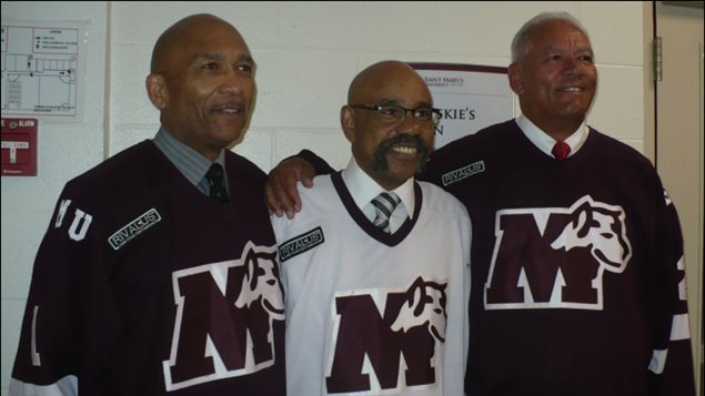Former teammates on the ST Mary's Huskies-L-R Bob Dawson,Percy Paris and Darrell Maxwell. They made hockey history in 1970 as the first all-black forward line. Shown here at an awards ceremony in Halifax in June 2015 where they were presented with the Pioneer Award for their achievements in hockey by the Multi-Ethnic Sports Hall of Fame of Oakland, California