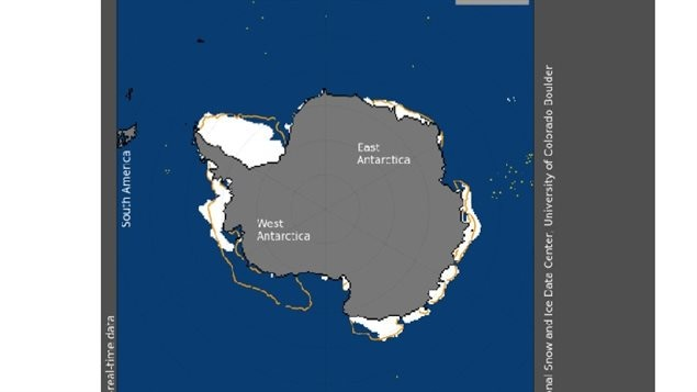 Antarctic sea ice extent for February 5, 2017 shows the Amundsen Sea nearly free of ice. The orange line shows the 1981 to 2010 median extent for that day.