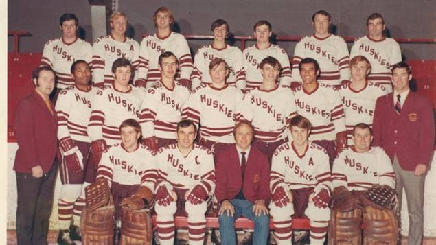 Members of the 1970 Saint Mary's Huskies hockey team included Bob Dawson (second from left, middle row), Darrell Maxwell (third from right, middle row) and Percy Paris (missing from the photo)