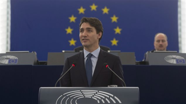 Canada's Prime Minister Justin Trudeau praised the CETA trade agreement before the European Parliament on February 16, 2017.