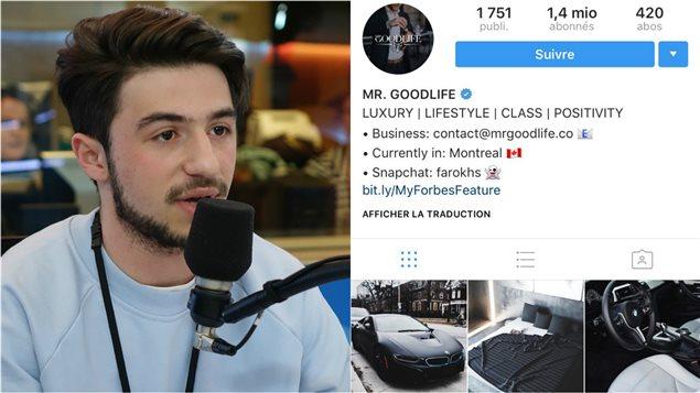 Farokh Sarmad et son compte Instagram Mr. Goodlife