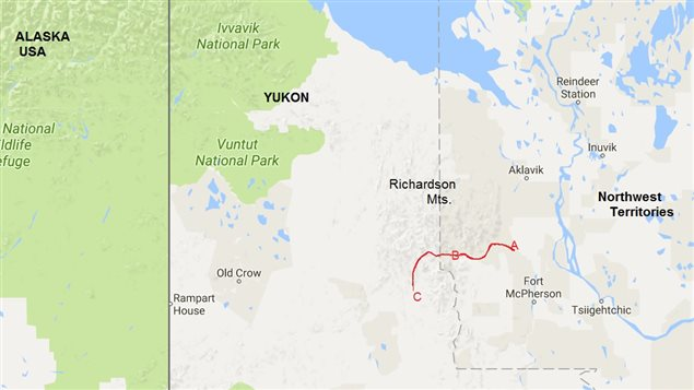 Approximate route of Johnson A) cabin on Rat River, B() where Cst Millen was shot and killed, C) Eagle River Yukon where Johnson was killed.