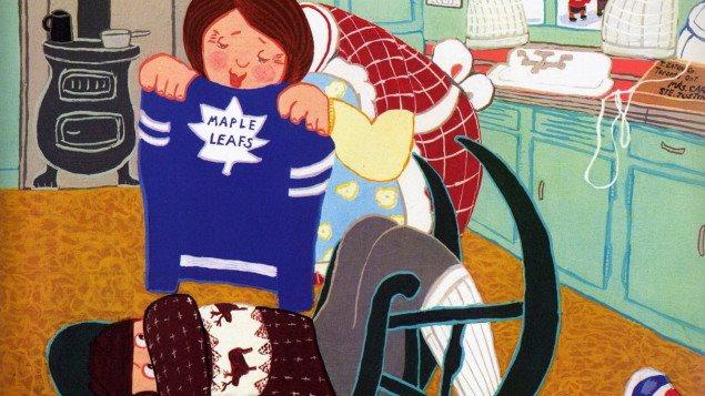 Une illustration montrant une femme qui présente un chandail des Maple Leafs de Toronto à un enfant.