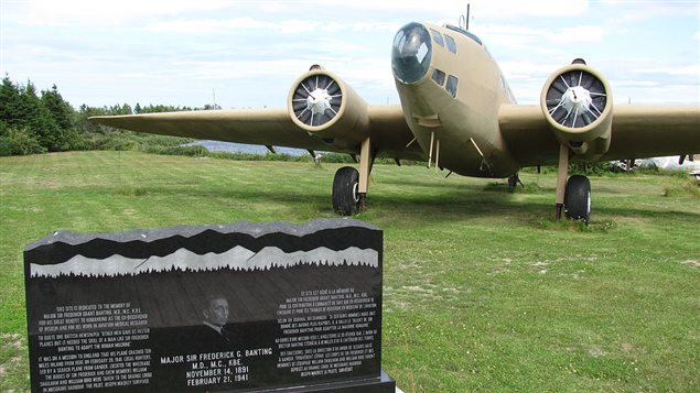 A restored Lockheed Hudson bomber at Banting memorial Park in Musgrave harbour. Remants of the original wreckage are nearby.