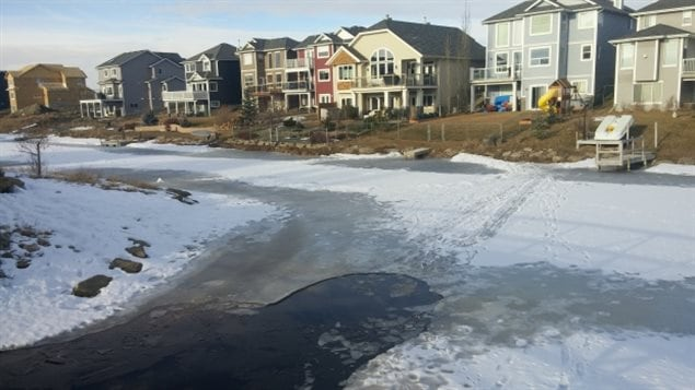The ice near homes in Airdrie, Alberta proved to be fatally thin and unstable.