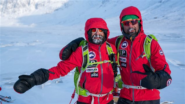 Ray Zahab, left, and Italy's Stefano Gregoretti skied across Baffin Island. Now they and Canada's  Ewan Affleck are attempting to fat-tire bike nearly 500 km on the frozen Mackenzie River in N.W.T. (Ray Zahab/Facebook)
