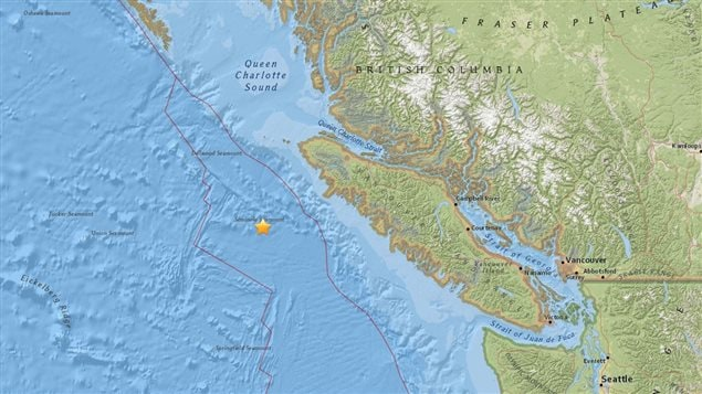 The earthquake was centred 164 kilometres southwest of Port Hardy off at a depth of 10 kilometres. (USGS)