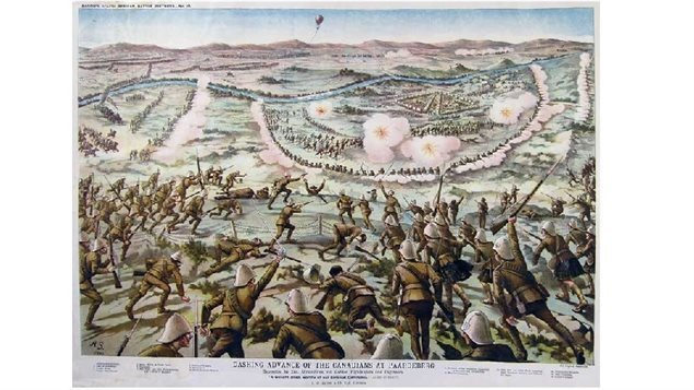 Rather idealized painting of the Canadian attack on the Boers at Paardeberg Drift, 27 February 1900.Dashing Advance of the Canadians at Paardeburg from Bacon's South African Battle Prints No.10