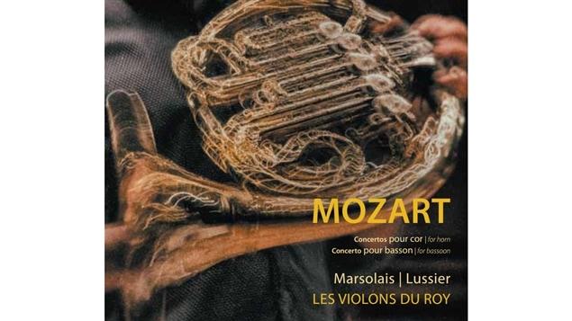 Pochette de l'album <i>Mozart : concertos pour cor</i> de Louis-Philippe Marsolais avec Les Violons du Roy sous la direction de Mathieu Lussier, paru sous étiquette Atma