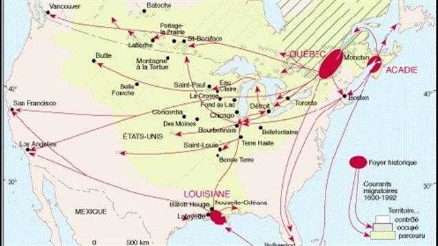 Carte des déplacements des francophones en Amérique du Nord depuis 400 ans – Université Laval de Québec.