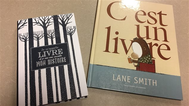 « C'est un livre » de Lane Smith (Gallimard jeunesse) et « Je m'appelle livre et je vais vous raconter mon histoire » de John Agard (Nathan)