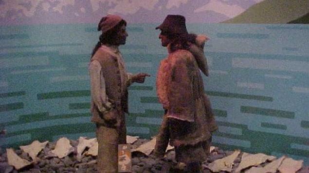 Représentation d'une rencontre entre un Basque et un Français à Plaisance (Terre-Neuve)