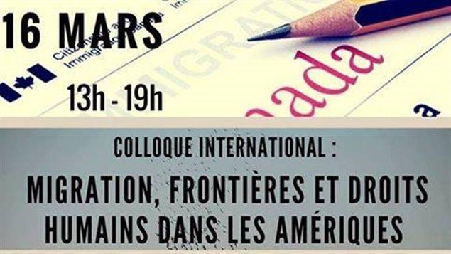 Detalle del afiche del Coloquio Migración, fronteras y derechos humanos en las Américas.