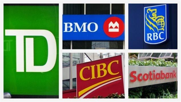 Les logos de 5 grandes banques canadiennes.