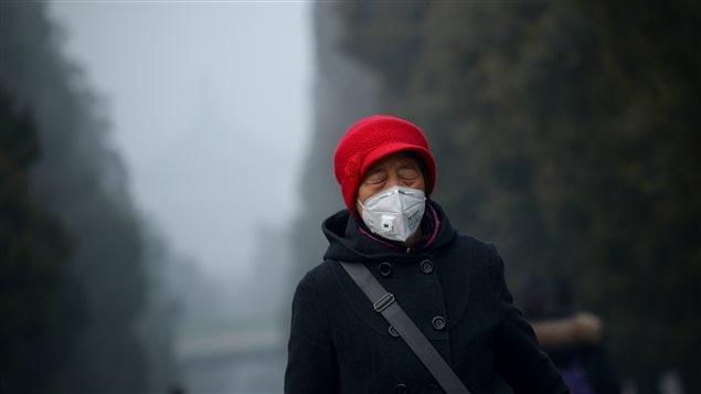 Une dame se protège du smog en portant un masque lors d'une promenade à Beijing le 20 décembre 2016.