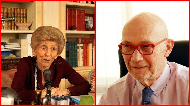 A gauche: Hélène Carrère d'Encausse, historienne et secrétaire perpétuelle de l'Académie française. A droite: Pascal Lamy, ancien commissaire européen au Commerce et ancien directeur général de l'Organisation mondiale du commerce.