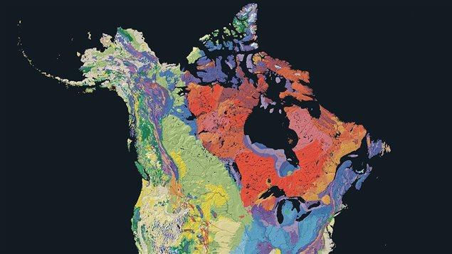 Dans les tons d'orange, de rose et d'ocre se dessine sur cette carte le fameux bouclier canadien. Il recouvre 90 % de la province du Québec et presque la moitié de toute la superficie du Canada.Photo Credit: US Geological Survey