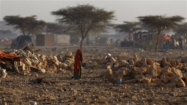 A camp shelters people in Somalia displaced by drought that has been called a national disaster. The UN estimates five million people in this country need aid because of famine.
