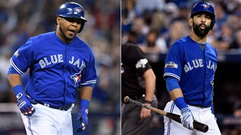 Edward Encarnacion, left, is gone, but long-time star Jose Bautista is back as the Jays try for their third straight season in the playoffs.