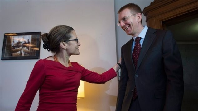 Minister of Foreign Affairs Chrystia Freeland welcomes Edgars Rinkevics to her office on Parliament Hill on Thursday. Rinkevics says Canada and Latvia need to be prepared to counter Russian-backed cyberattacks as a part of Canada's NATO mission to deter Russian aggression in the country.