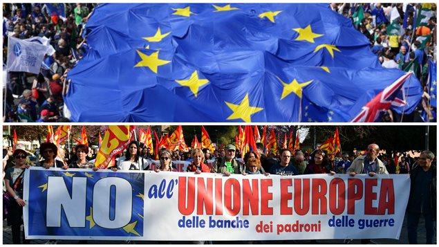 Manifestations à l'occasion des 60 ans du Traité de Rome le 25 mars 2017, Rome. En haut : Des manifestants pro-européens déploient le drapeau de l'Union européenne sur le lieu du départ de la Marche pour l'Europe. En bas :  Des manifestants contre l'Union européenne (Euro Stop).