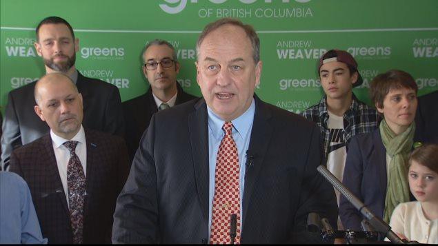 Andrew Weaver, le chef du Parti Vert de la C.-B.