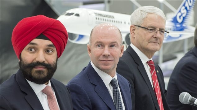 At the news conference to announce the government's loan to Bombardier, Innovation Minister Navdeep Bains (left) said the loan would save thousands of highly-paid technology jobs in the provinces of Quebec and Ontario.