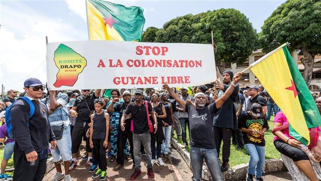 Marche à l'appui de la grève générale qui a paralysé la Guyane française, le 28 mars 2017.