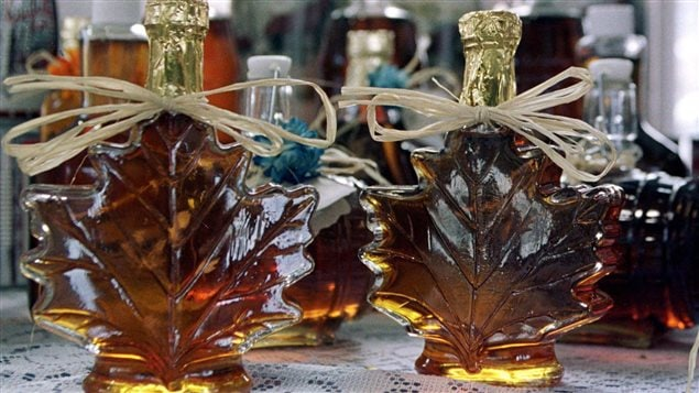 Maple syrup sits for sale at the Old Port market in Quebec City in this April 18, 2000 photo.