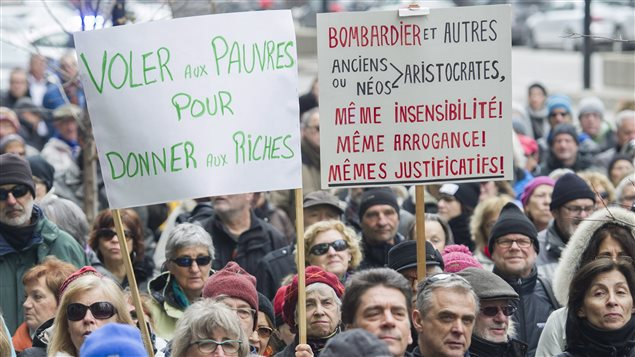 People gathered in Montreal on April 2, 2017 to protest massive pay hikes for Bombardier executives.