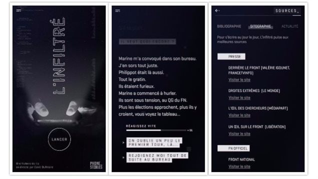 Phonestories, L'inflitré est un jeu documentaire qui emmène le joueur au coeur de la machine électorale du Front National.