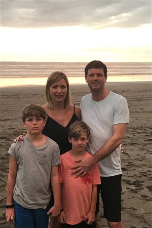 Shanna and Brett Doyle are seen with their sons, Cole, 10, and Simon, 8, in this undated family handout photo. The public outcry over the contentious airline practice of overbooking flights has found a new target in Atlantic Canada, where Cole was bumped from an Air Canada flight that was supposed to take his family to a sunny destination during the March break. The airline apologized to the family Monday after the boy could not be assigned a seat.