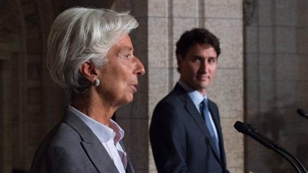 In a visit to Ottawa last September, International Monetary Fund Managing Director Christine Lagarde praised Prime Minister Justin Trudeau's activist economic policy, saying she hopes Canada's economic example inspires European countries. However, the IMF's forecast for the Canadian economy this year is lower than the one projected last week by the Bank of Canada.