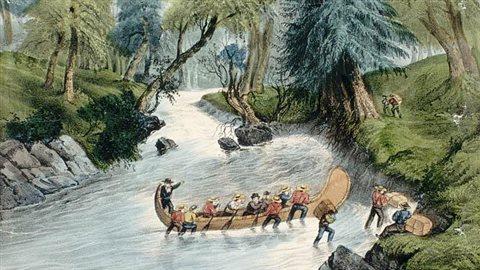 Estampe: Voyageurs canadiens poussant un canot dans un rapide.Source: Bibliothèque et Archives Canada/C-008373