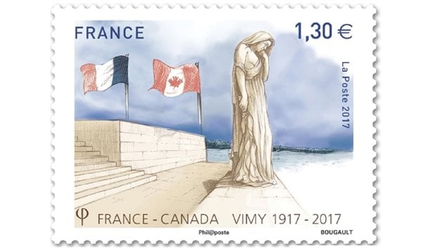 France's commemorative stamp featuring one of the many figures at the memorial this is *Canada Bereft*