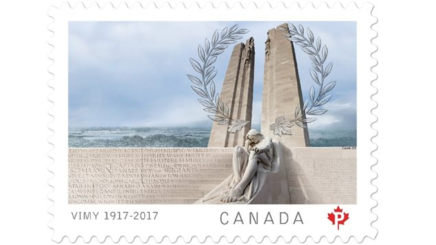 The Canadian stamp showing the two huge towers, the thousands of Canadians killed with no known graves whose names are inscribed on the memorial, and one of the many statues at the monument, this one the *greiving father* on one side of the steps, which matches the grieving mother on the other side