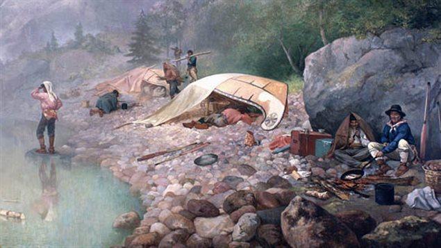 Peinture: Voyageurs à l'aube Source: Bibliothèque et Archives Canada/Fonds Frances Anne Hopkins/C-002773
